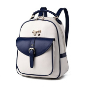 ANNE Women's Colour Bag Backpacks Pu Leather Scool Bag for Girls Ladies Bags-White & Royalblue