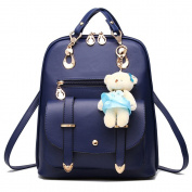 ANNE Women's Pu Leather Backpacks Scool Bag for Girls High Qualtiy Fashion Handbag with Bear Pendant-Blue