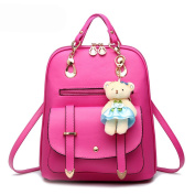ANNE Women's Pu Leather Backpacks Scool Bag for Girls High Qualtiy Fashion Handbag with Bear Pendant-Rosy Red