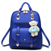 ANNE Women's Pu Leather Backpacks Scool Bag for Girls High Qualtiy Fashion Handbag with Bear Pendant-Sky Blue