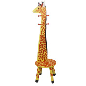 Teamson Kids Childrens Wooden Giraffe High Backed Coat Stand Kids Rack and Stool Seat with Hooks W-1945G