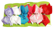 6pcs Big Hair Bows Boutique Girls Alligator Clip Grosgrain Ribbon Headband - 15cm