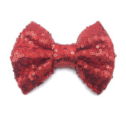 PrettyBoutique 13cm Girls Sequin Glitter Sparkle Hair Bow Clip Accessories (Red)