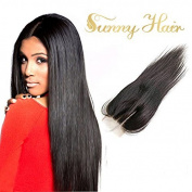Sunny 36cm 3.5*10cm Three Part Brazilian Vigin Human Hair Natural Black Silky Straight Top Lace Closure Hair