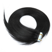Bette Hair Tape In Hair Extensions 100% Remy Straight Human Hair Full Head 60cm 20 Pcs 70g 1# Jet Black