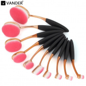 10pcs makeup brushes (with box) gold-plated toothbrush type rose gold-pink