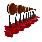 Togirl Acrylic Makeup Cosmetic Organiser Display Stand For 10pcs Toothbrush Foundation Brush, Red