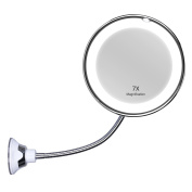 KEDSUM Flexible Gooseneck 17cm 7x Magnifying LED Lighted Makeup Mirror,Bathroom Vanity Mirror with Strong Suction Cup, 360 Degree Swivel,Daylight,Battery Operated,Cordless & Compact Travel Mirror