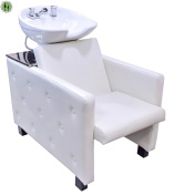 Backwash Ceramic Shampoo Chair Station Barber Bowl Spa Equipment Unit Full Set Off White