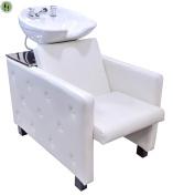 Backwash Ceramic Shampoo Chair Station Barber Bowl Spa Equipment Unit Full Set Off White