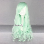 Lolita Fashion Women Light Green 60cm Long Wavy Curly Anime Cosplay Wig + Wig Cap
