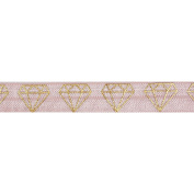 5 Yards of Gold Diamonds Elastic - 1.6cm Metallic Foil FOE - Headbands Hair Ties Favours - Fashion Elastic