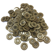 "3/4"" (18 mm) Dark Tan Resin Buttons - Pack of 100"