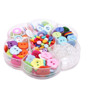 BUYITNOW 220 Pcs Assorted Colour Resin Button Set Sewing Round Flatback Star Flower Shaped Buttons in a Case for DIY Craft Handmade Ornament