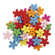 ULTNICE 100pcs Wooden Buttons Colourful Flower Flatback Sewing Buttons Scrapbooking Craft