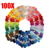 100 Pcs Rainbow Colour Cross Stitch Embroidery Thread Floss Sewing Floss
