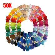 50 Pcs Rainbow Colour Cross Stitch Embroidery Thread Floss Sewing Floss