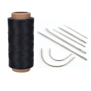 Buytra Curved Hand Leather Sewing Needles Kit with 260m 210D 1mm Black Leather Sewing Waxed Thread Cord for Leather Repair Craft DIY