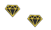 2 pieces Yellow DIAMOND Iron On Patch Applique Embroidered Motif Fabric Decal 2 x 1.6 inches