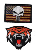 Tiger Head usa Flag Punisher Patch Bundle 2pcs Hook Patch by Miltacusa