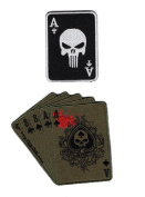 Dead Man's Hand Aces and 8's Punisher Ace Card Patch Bundle 2pcs Hook Patch by Miltacusa