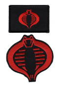 Cobra Embroidered Patch Bundle red/blk 2pcs Hook Patch by Miltacusa