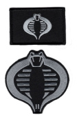 Cobra Embroidered Patch Bundle Silver Subdued 2pcs Hook Patch by Miltacusa