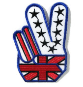 Two fingers DIY Embroidered Sew Iron on Patch