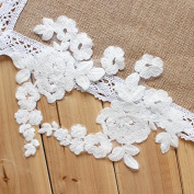 18cm x 15cm Ivory Corded Embroidery Applique lace Silk Stockings Decoration Bridal Veils Dress Lots of 4 Pieces