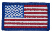 US Flag Embroidered Patch (Sew-on) Forward Full Colour Royal Blue Border 3.8cm x 6.4cm