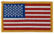 US Flag Patch (Sew-on) Forward Full Colour DARK GOLD Border 6.4cm x 10cm