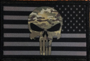 Punisher Multicam American Flag Morale Patch. Perfect for your Tactical Military Army Gear, Backpack, Operator Baseball Cap, Plate Carrier or Vest. 5.1cm x 7.6cm Hook Patch. Made in the USA
