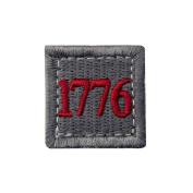 1776 American Independence Emblem Tactical USA Morale Embroidered Applique Hook and loop Patch - Sliver Grey