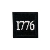 1776 American Independence Emblem Tactical USA Morale Embroidered Applique Hook and loop Patch - BlACK