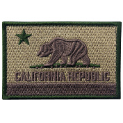 EmbTao California Tactical Embroidered Applique Hook and loop Patch - Desert Sand & Olive Green