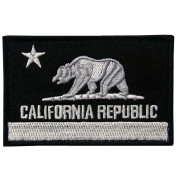 EmbTao California Tactical Embroidered Applique Hook and loop Patch - White & Black