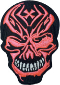 skeleton biker pink patch SIZE 6.5x9cm. biker heavy metal Logo Jacket Vest shirt hat blanket backpack T shirt Patches Embroidered Appliques Symbol Badge Cloth Sign Costume Gift