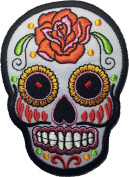 Skull rose (white) patch SIZE 6.5x9cm. biker heavy metal Logo Jacket Vest shirt hat blanket backpack T shirt Patches Embroidered Appliques Symbol Badge Cloth Sign Costume Gift