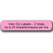 Iron On Clothing Labels - 100 PINK - with 2 lines text - Personalise your way!