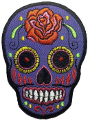 Skull rose (grey) patch SIZE 6.5x9cm. biker heavy metal Logo Jacket Vest shirt hat blanket backpack T shirt Patches Embroidered Appliques Symbol Badge Cloth Sign Costume Gift