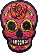 Skull rose (pink) patch SIZE 6.5x9cm. biker heavy metal Logo Jacket Vest shirt hat blanket backpack T shirt Patches Embroidered Appliques Symbol Badge Cloth Sign Costume Gift