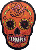 Skull rose (RED) patch SIZE 6.5x9cm. biker heavy metal Logo Jacket Vest shirt hat blanket backpack T shirt Patches Embroidered Appliques Symbol Badge Cloth Sign Costume Gift