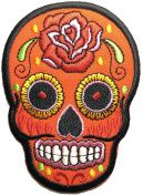 Skull rose (orange) patch SIZE 6.5x9cm. biker heavy metal Logo Jacket Vest shirt hat blanket backpack T shirt Patches Embroidered Appliques Symbol Badge Cloth Sign Costume Gift