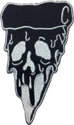 Pizza Skull(black) size 6x10.5cm. biker heavy metal Horror Goth Punk Emo Rock DIY Logo Jacket Vest shirt hat blanket backpack T shirt Patches Embroidered Appliques Symbol Badge Cloth Sign Costume Gift