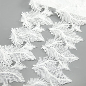 5 Yards White Cotton Feather Plumage Lace Trim Applique Sewing DIY Craft Lace For Festival/Wedding/Party/Birthday/Bridal Shower Decoration and DIY Handmande Accessories