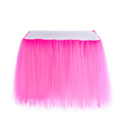 Adeeing Romantic Tulle Table Cloth Gauze Decoration Tutu Table Skirts for Girl Princess Party Baby Shower Wedding Birthday Parties Decoration 1Yard