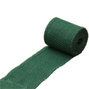 Dark Green Jute Burlap Ribbon Roll 6.1cm Width 3 Yards Long for Party Wedding Cake Holiday Flora Craft Decoration