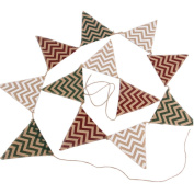 Chevron Design Burlap Banner - Vintage Triangle Bunting Banner with 12pcs Flags Party Decoration