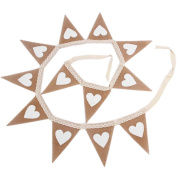White Heart on Burlap Banner - Vintage Triangle Bunting Banner with 14pcs Flags Party Decoration