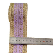 Light Purple Lace on Jute Burlap Ribbon Roll 5.1cm Width 2 Yards for Party Wedding Cake Holiday Flora Craft Decoration